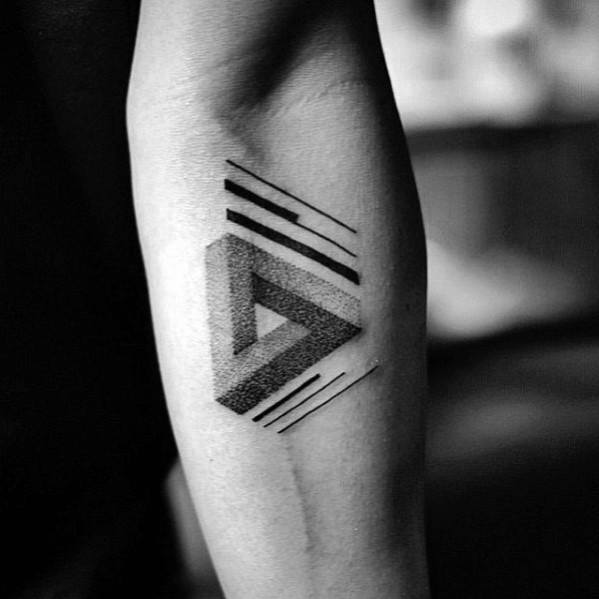 3d Inner Forearm Mens Tattoo With Penrose Triangle Design