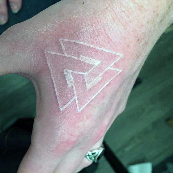 3d Interlocking White Ink Mens Tattoo On Hand
