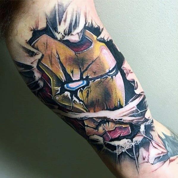 3d Ironman Stone Marvel Guys Inner Arm Bicep Tattoos