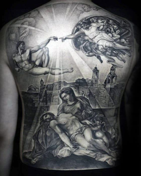 3d Jesus Full Back Themed Tattoo Design Ideas For Males