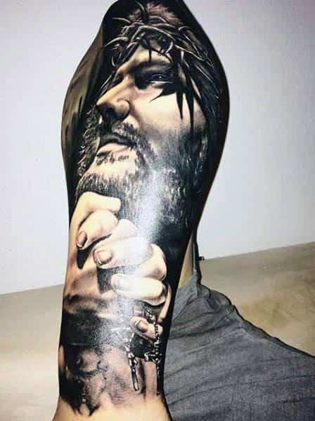 3d Jesus Mens Tattoo Designs On Leg