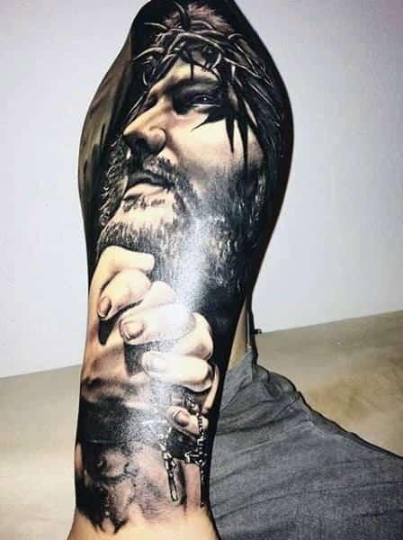 3d Jesus Mens Tattoo Designs On Leg