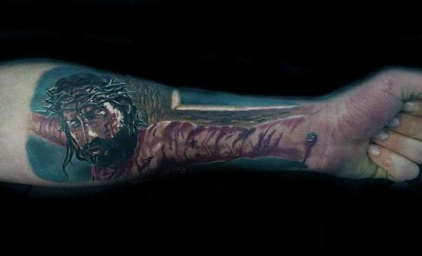 3d Jesus On The Cross Mens Optical Illusion Forearm Tattoo