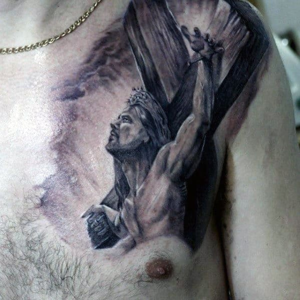 3d Jesus On Wood Corss Guys Upper Chest Tattoo
