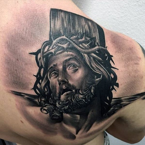 3d Jesus Portrait On Cross Back Tattoos For Men