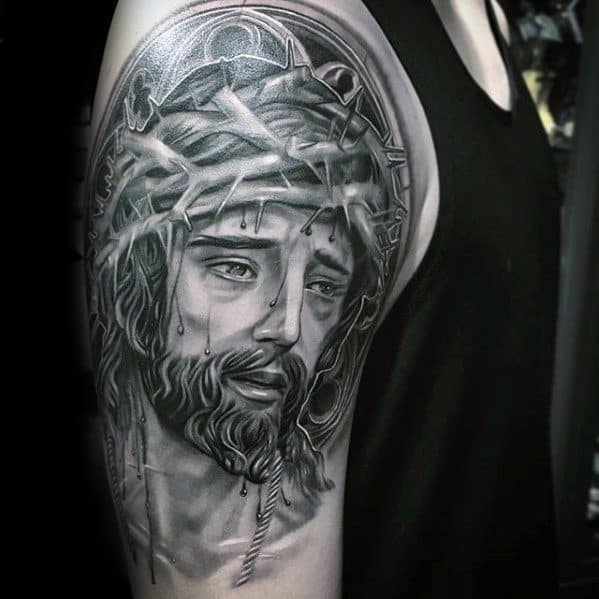 3d Jesus Tattoos Guys On Arm