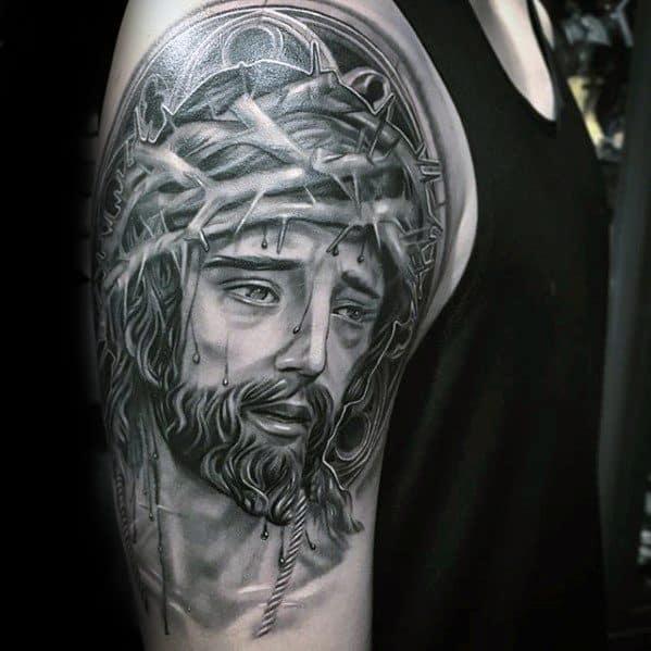 3d Jesus Tattoos Guys On Arm