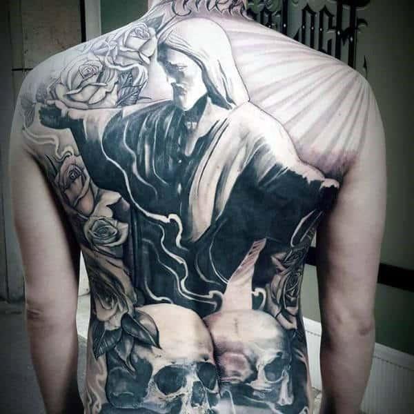 3d Jesus With Skulls Chicano Mens Full Back Tattoo