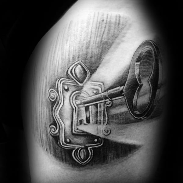 3d Key Inside Glowing Lock Mens Arm Tattoos