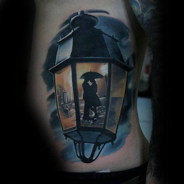 3d Lantern Colorful Mens Rib Cage Side Tattoos