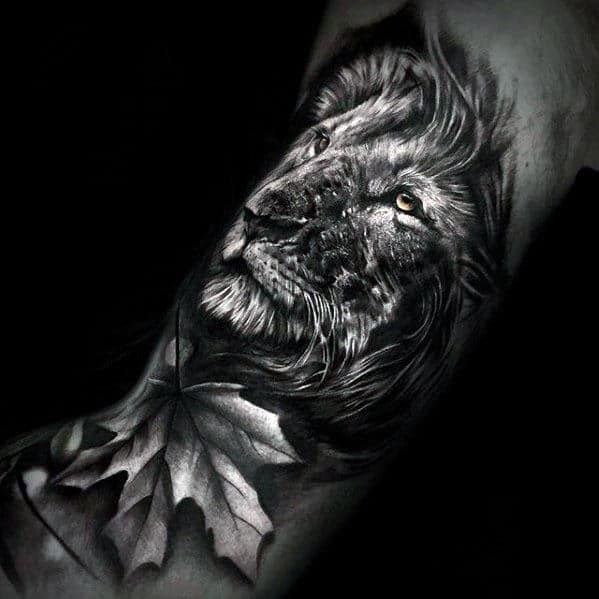 50 realistic lion tattoo designs for men felidae ink ideas for Lion head tattoo