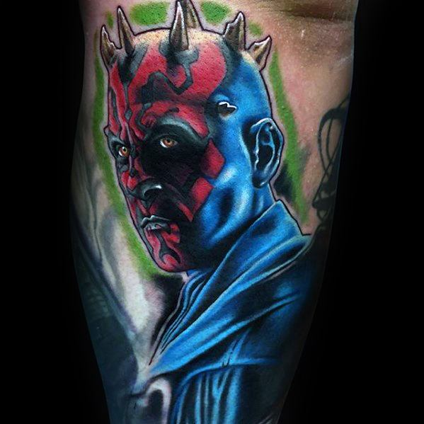 3d Leg Artistic Male Darth Maul Tattoo Ideas