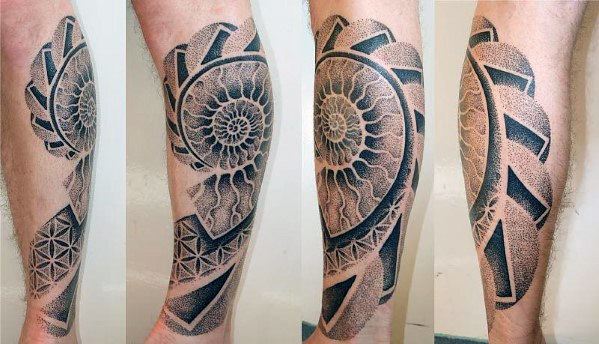 3d Leg Awesome Ink Ammonite Tattoos For Men