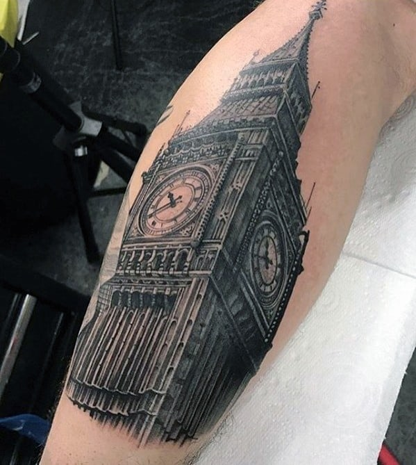 3d Leg Big Ben Tattoo Designs For Guys
