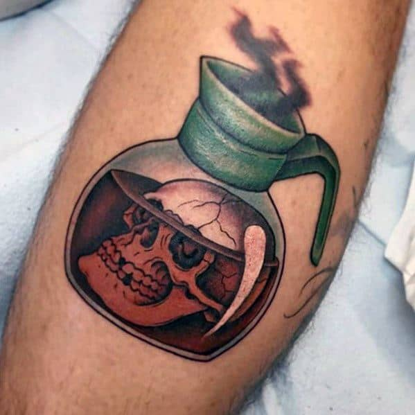 3d Leg Guys Tattoo Ideas Coffee With Skull Designs