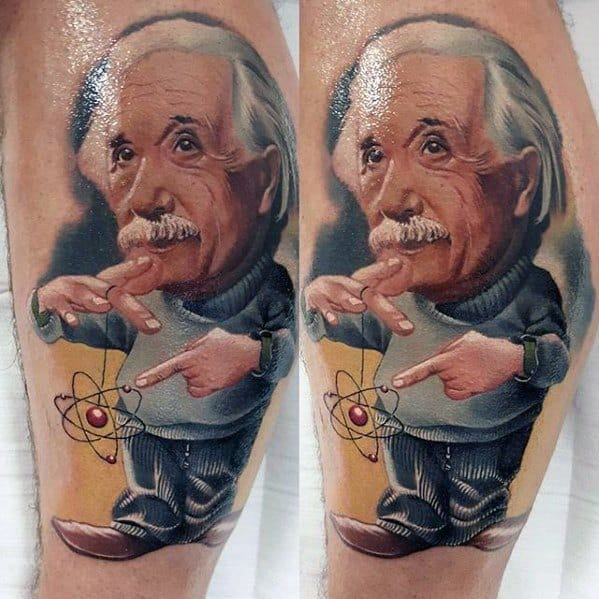 3d Leg Mens Albert Einstein Tattoo Design Ideas