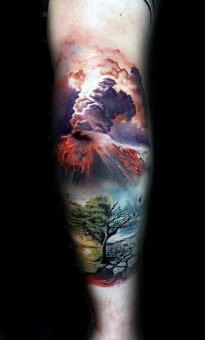 3d Leg Sleeve Realistic Volcano Mens Tattoo Ideas