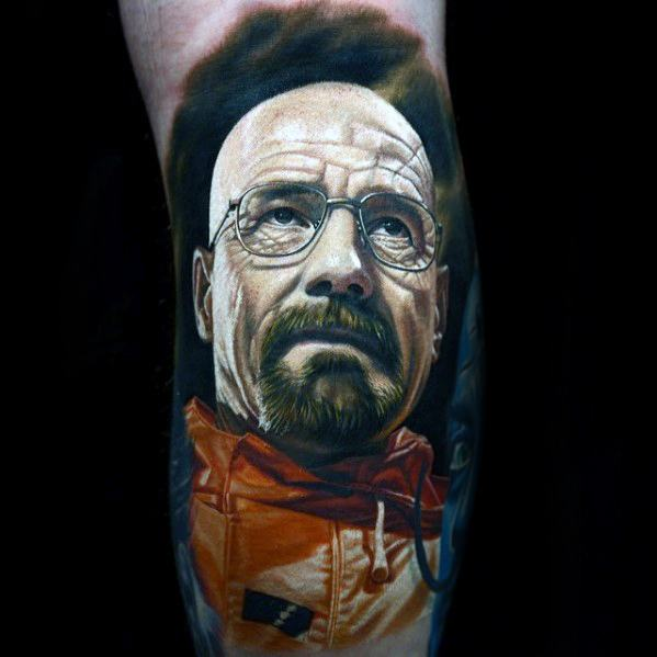 3d Leg Walter White Guys Tattoo Ideas Portrait Designs