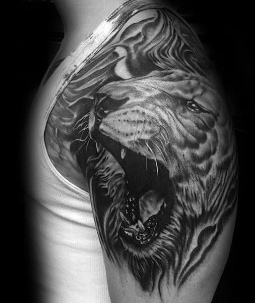 3d Lion Roaring Male Shoulder Tattoo Inspiration