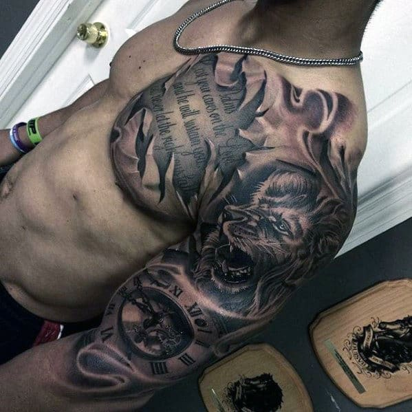3d Lion With Clock And Quote Different Mens Chest And Arm Tattoo