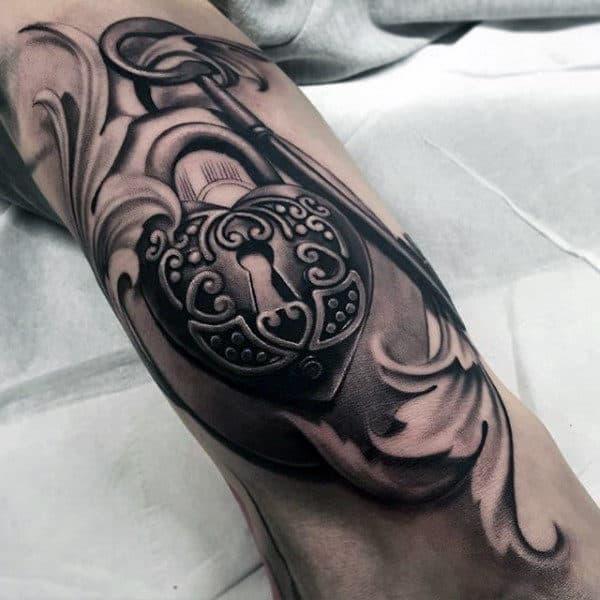 3d Lock Mens Filigree Arm Tattoos