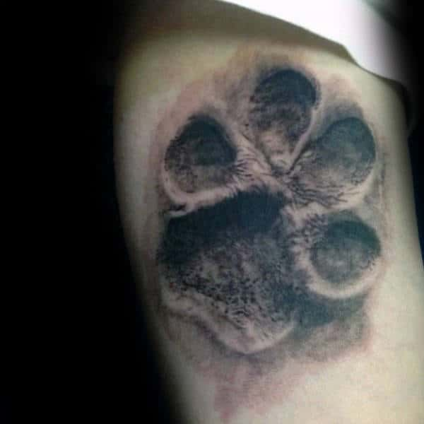 3d Male Dog Paw Shaded Tattoos On Arm
