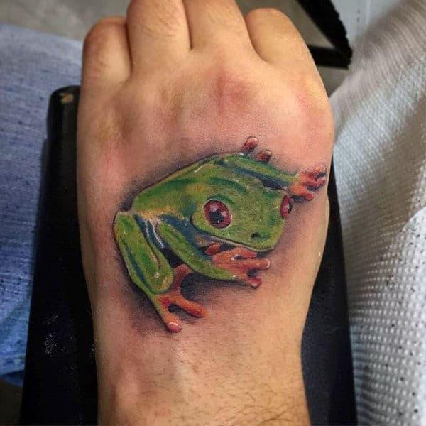 3d Male Frog Foot Tattoo