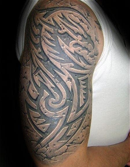 3d Male Half Sleeve Guys Tribal Tattoo Design