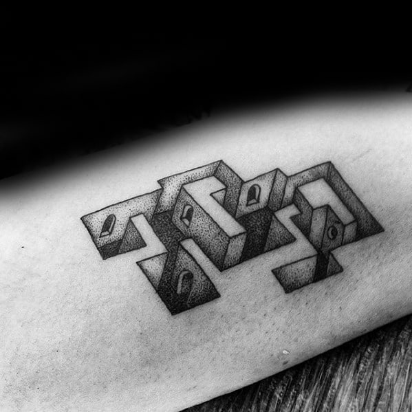 3d Male Maze With Doors Inner Arm Bicep Tattoo Designs