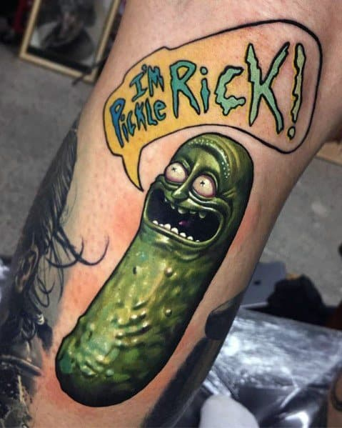 3d Male Pickle Rick Themed Tattoos