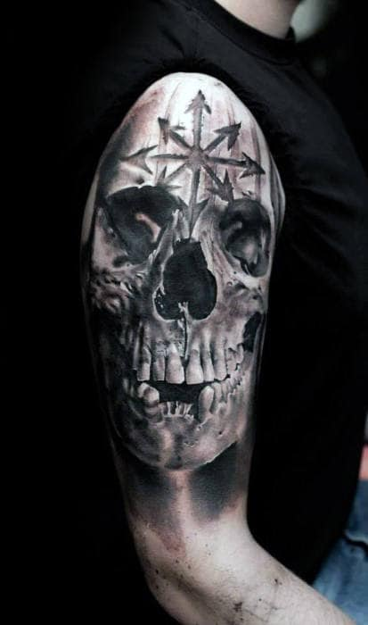 3d Male Realistic Skull Half Sleeve Tattoo Inspiration