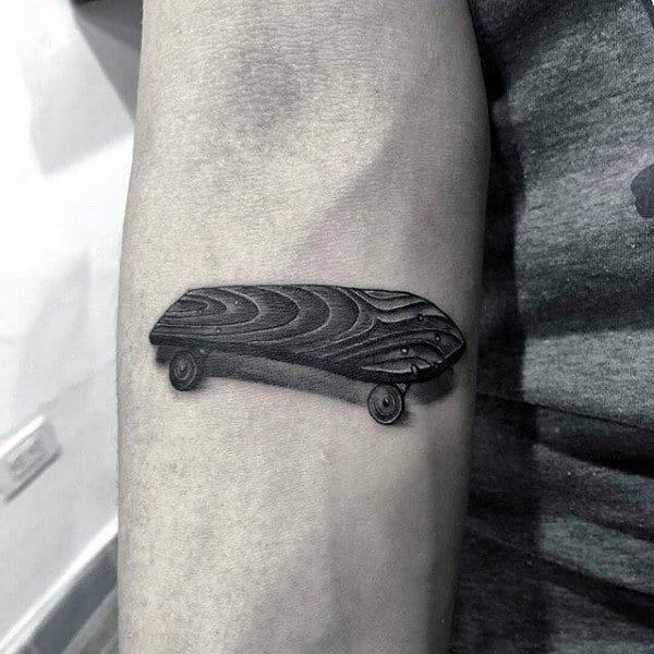 3d Male Small Skateboarding Tattoo On Inner Forearm