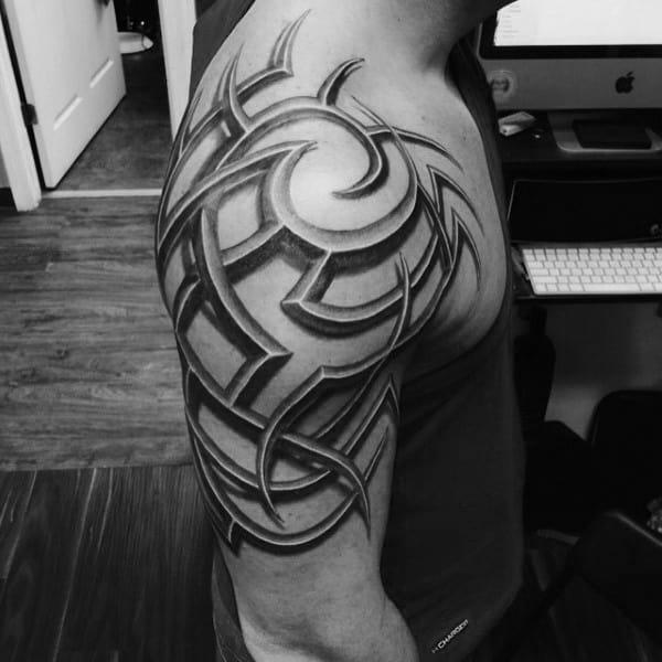 218c37235d8d1 80 Tribal Shoulder Tattoos For Men - Masculine Design Ideas