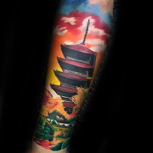 3d Masculine Pagoda Tattoos For Men