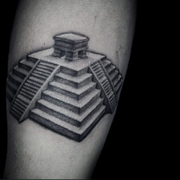 3d Mayan Pyramid Small Mens Arm Tattoos