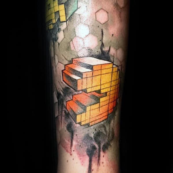 3d Mens Abstract Watercolor Geometric Pacman Tattoo Sleeve