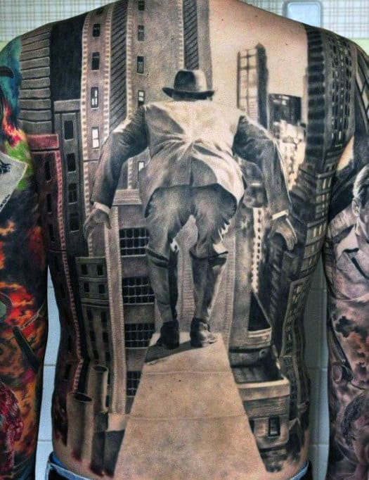 3D Men's Back Tattoos