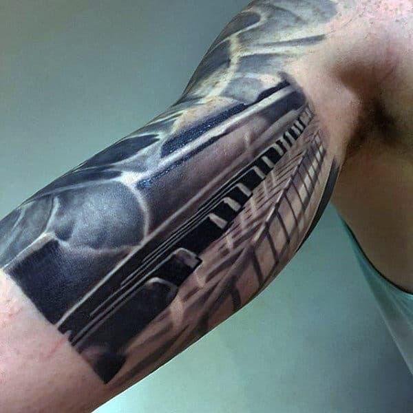 3d Mens Bicep Inner Arm Piano Keys Tattoo Design Inspiration