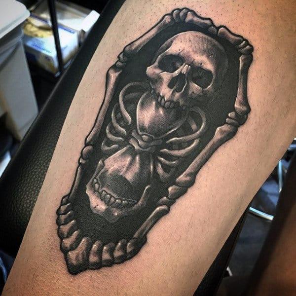 3d Mens Black Ink Skull Bones Hourglass Coffin Tattoo Design