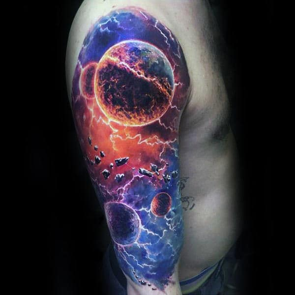 3d Mens Colorful Unique Outer Space Planets Sleeve Tattoo