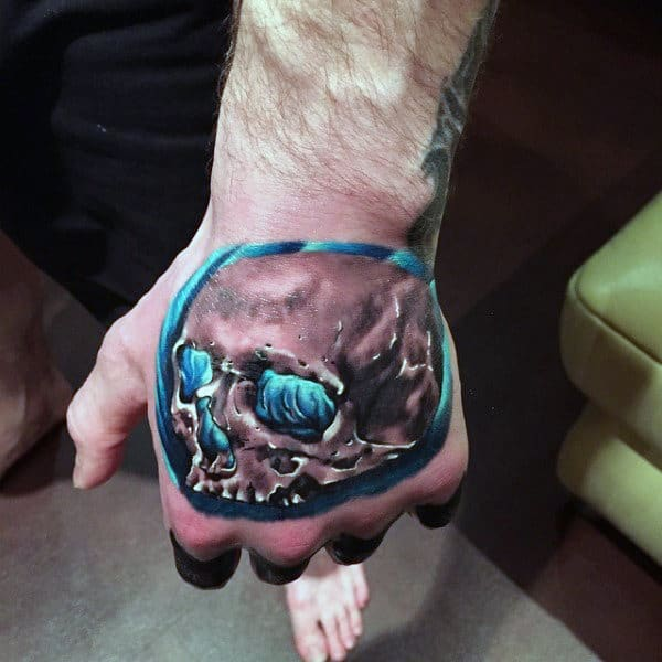 3d Mens Creative Skull Tattoo On Hand