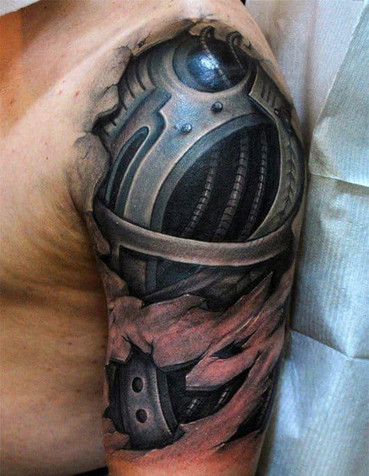 3d Mens Cyborg Ripped Skin Terminator Half Sleeve Tattoos