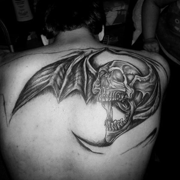 3d Mens Deathbat Shoulder Tattoos