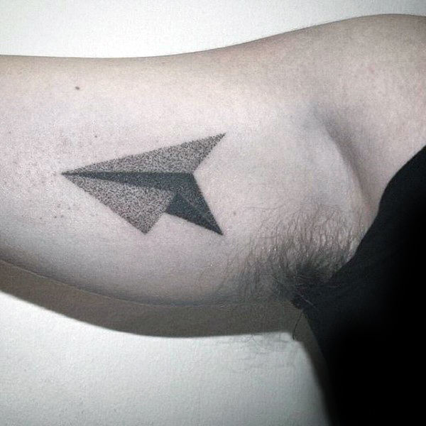 3d Mens Dotwork Paper Airplane Bicep Tattoos