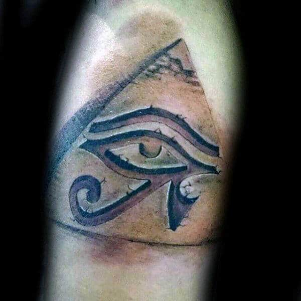 3d Mens Eye Of Ra Pyramid Arm Tattoo Ideas