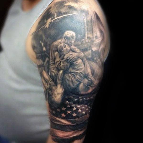 3d Mens Fallen Soldier Half Sleeve Tattoo Inspiration