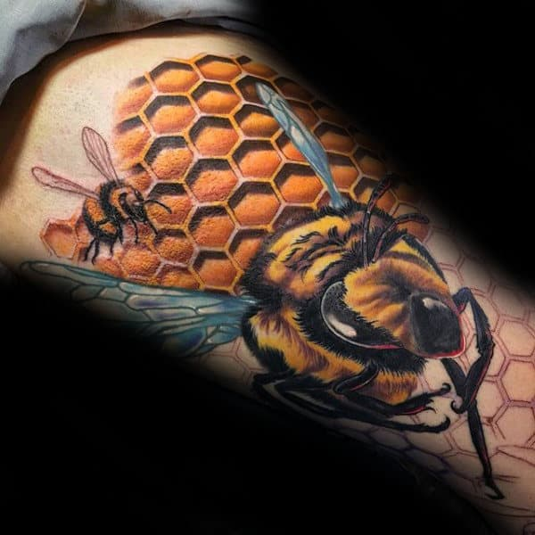 3d Mens Flying Bee Honeycomb Thigh Tattoos