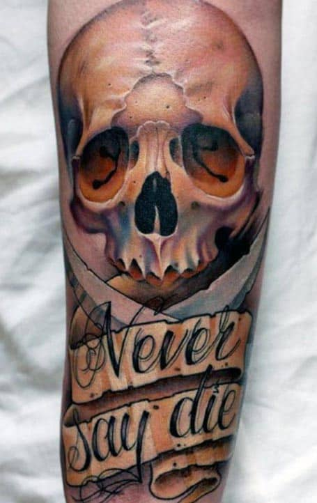 3D Men's Forearm Skull Script Tattoo Designs