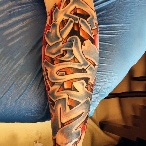 3d Mens Graffiti Tattoo Design On Leg