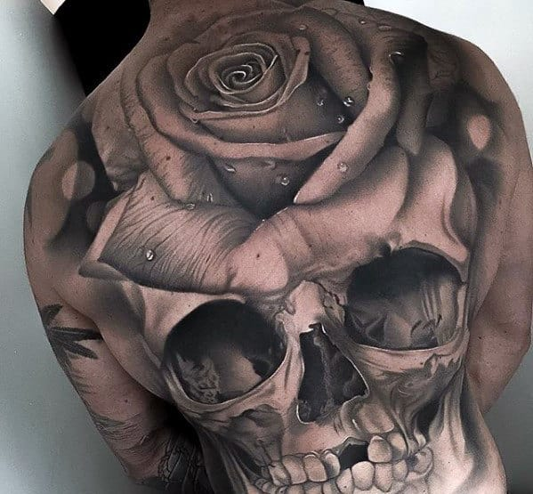 3d Mens Great Skull And Rose Tattoo Ideas With Full Back Design